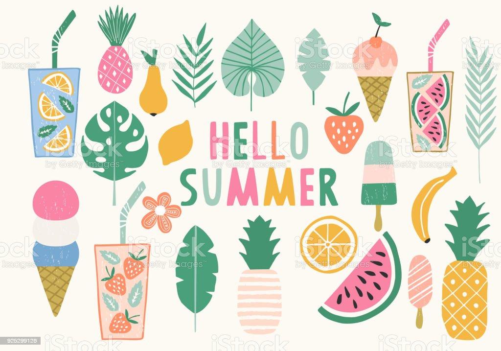 여름 그림의 컬렉션입니다. 아이스크림, 파인애플, 레모네이드 아이콘입니다. 벡터입니다. 격리. - 로열티 프리 고풍스런 벡터 아트