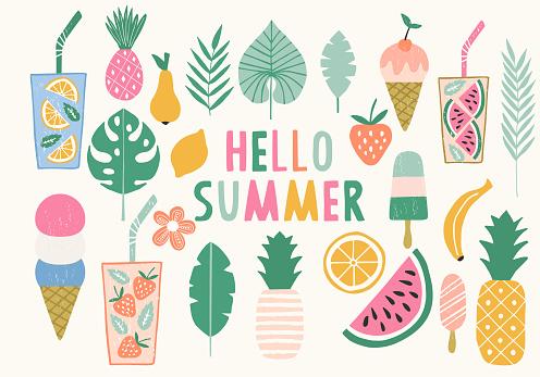 여름 그림의 컬렉션입니다 아이스크림 파인애플 레모네이드 아이콘입니다 벡터입니다 격리 고풍스런에 대한 스톡 벡터 아트 및 기타 이미지