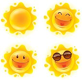 A variety of sun character for summer design