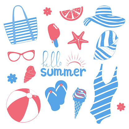 Collection of summer symbols. Set of cute icons in pink and blue. Vacation theme. Vector illustration.