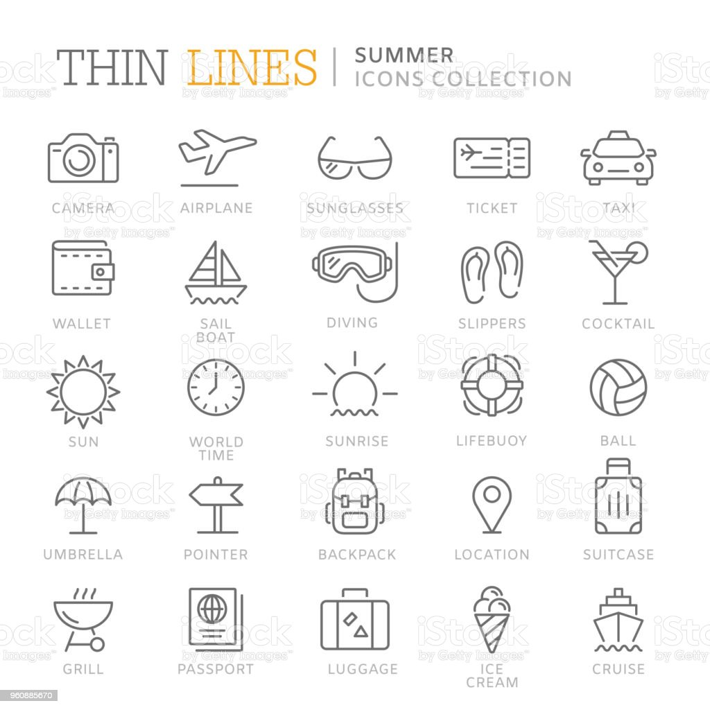 Collection of summer thin line icons royalty-free collection of summer thin line icons stock illustration - download image now