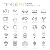 Collection of summer thin line icons. Vector eps 8