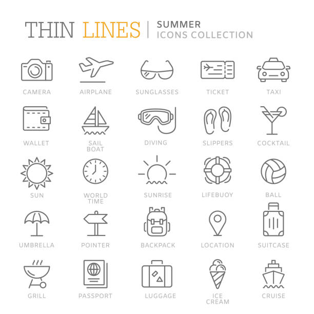Collection of summer thin line icons vector art illustration