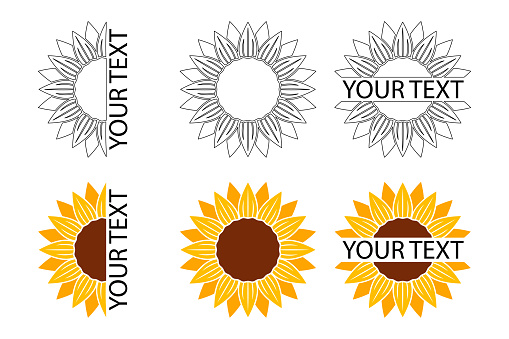 Collection of sunflower icons banners package labels templates - Vector illustration.