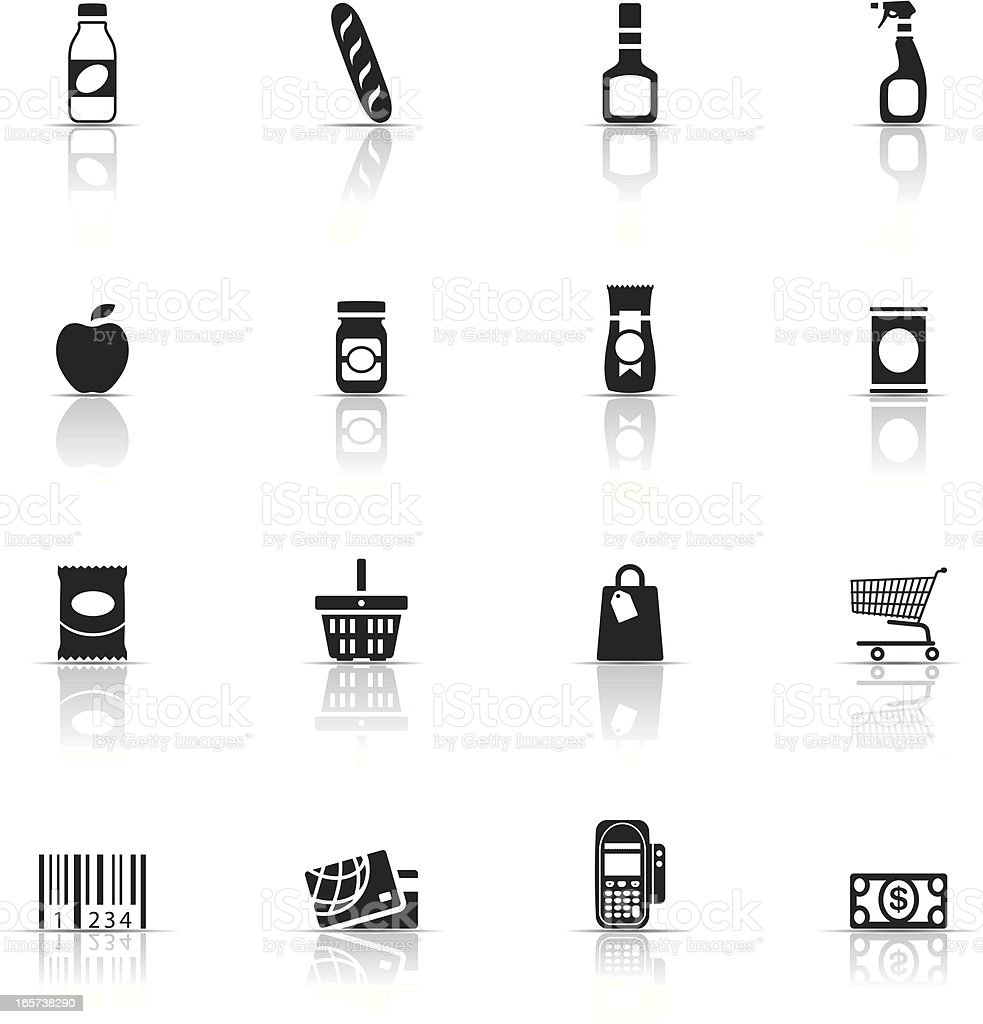 Collection of supermarket icons vector art illustration