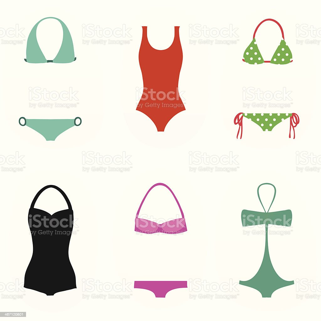 Collection of swimsuits for women vector art illustration