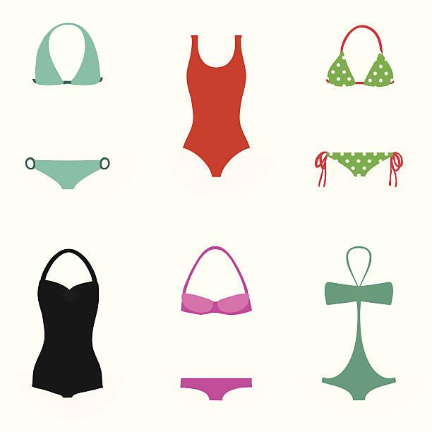 Sammlung von Badebekleidung für Damen – Vektorgrafik