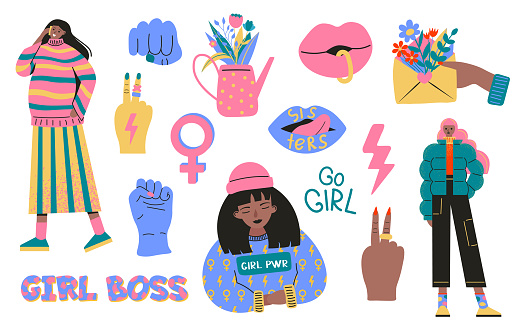 Collection of symbols of feminism and body positivity movement. Set of colorful stickers with feminist and body positive slogans or phrases. Modern vector illustration in flat cartoon style
