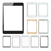 Set of vector illustrated tablet pc designs, wireframes and mockups.
