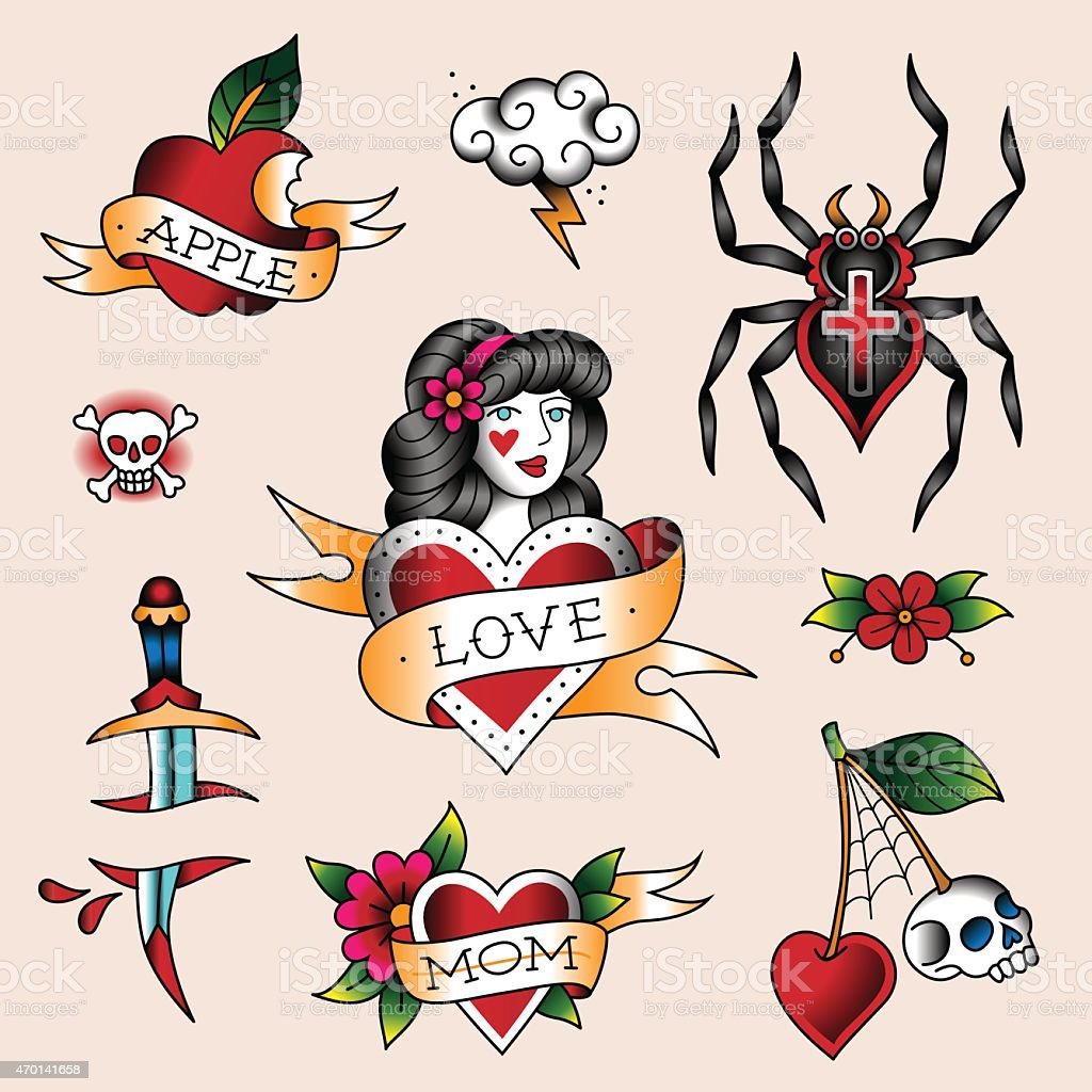 A collection of tattoo designs vector art illustration