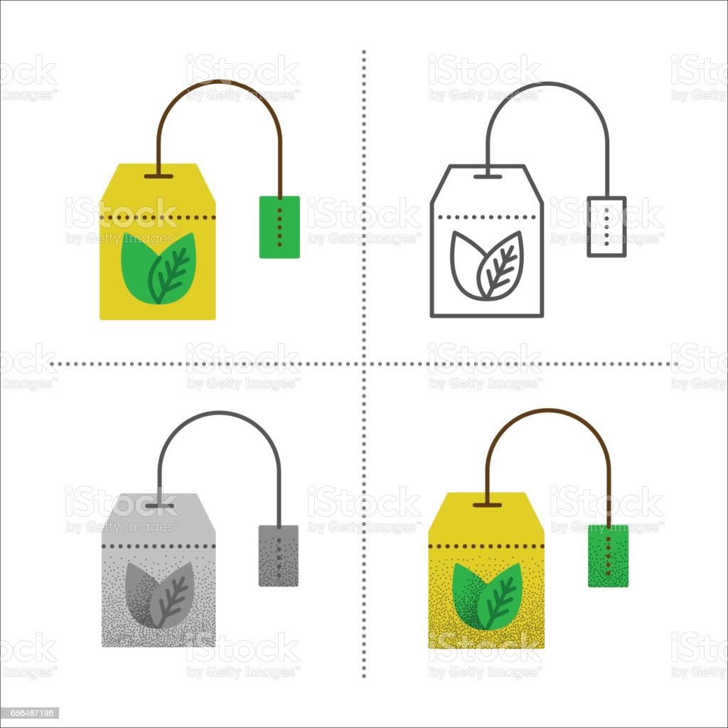 Collection of tea bag icons vector art illustration