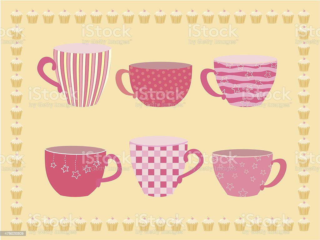 collection of teacups royalty-free stock vector art
