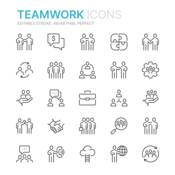 Collection of teamwork related line icons. 48x48 Pixel Perfect. Editable stroke Collection of teamwork related line icons. 48x48 Pixel Perfect. Editable stroke community stock illustrations