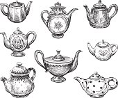 Vector image of a collection of different teapots.