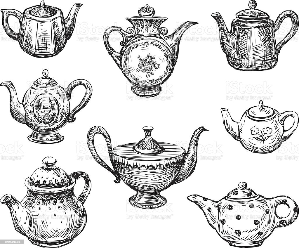 collection of teapots vector art illustration
