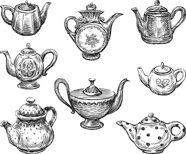 collection of teapots Vector image of a collection of different teapots. teapot stock illustrations