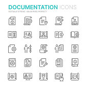 Collection of technical documentation related line icons. 48x48 Pixel Perfect. Editable stroke