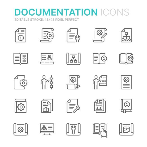 zbieranie dokumentacji technicznej związane ikony linii. 48x48 pixel perfect. edytowalny obrys - notes stock illustrations