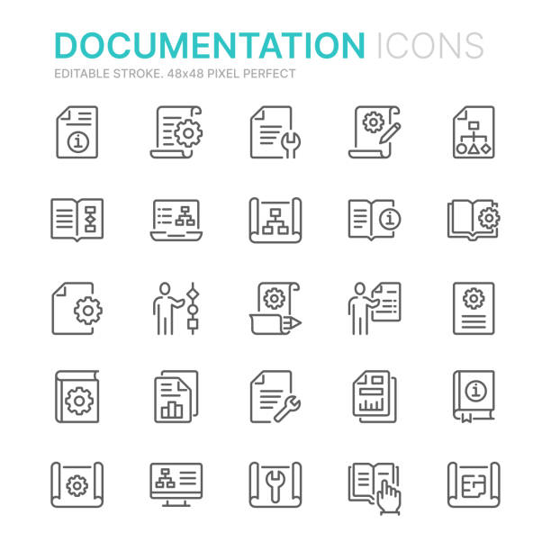 Collection of technical documentation related line icons. 48x48 Pixel Perfect. Editable stroke Collection of technical documentation related line icons. 48x48 Pixel Perfect. Editable stroke instructions stock illustrations