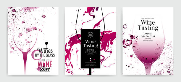 Collection of templates with wine designs. Brochures, posters, invitation cards, promotion banners, menus. Background effect wine drops. Collection of templates with wine designs. Brochures, posters, invitation cards, promotion banners, menus. Background effect wine drops. Vector illustration. wine stock illustrations
