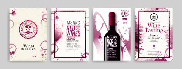 Collection of templates with wine designs. Brochures, posters, invitation cards, promotion banners, menus. Wine stains background. Collection of templates with wine designs. Brochures, posters, invitation cards, promotion banners, menus. Wine stains background. Vector illustration. Layered wine stock illustrations