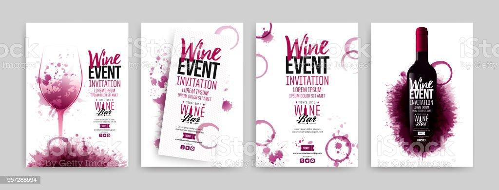 Sammlung Von Vorlagen Mit Wein Designs Broschüren Plakate ...