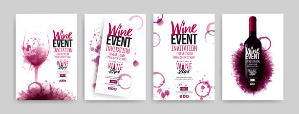 ilustrações de stock, clip art, desenhos animados e ícones de collection of templates with wine designs. brochures, posters, invitation cards, promotion banners, menus. wine stains background. - vinho