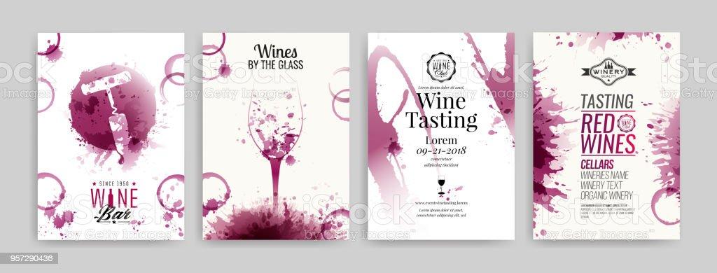 Ilustración De Colección De Plantillas Con Diseños De Vinos