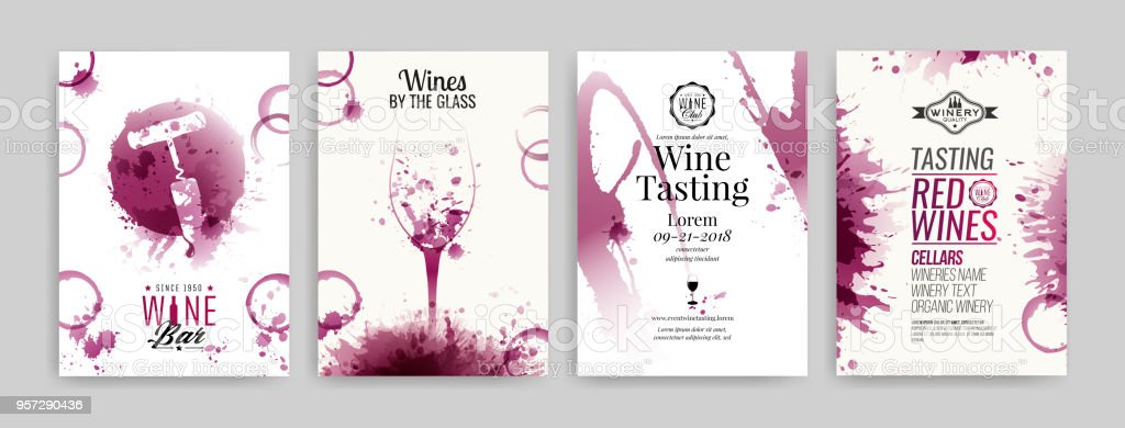 Collection of templates with wine designs. Brochures, posters, invitation cards, promotion banners, menus. Wine stains background. vector art illustration