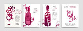Collection of templates with wine designs. Brochures, posters, invitation cards, promotion banners, menus. Wine stains. CMYK color. Vector illustration. Layered