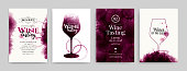 Collection of templates with wine designs. Elegant wine glass illustration. Brochure, poster, invitation card, promotion banner, menu, list, cover. Wine stains backgrounds. Vector illustration.