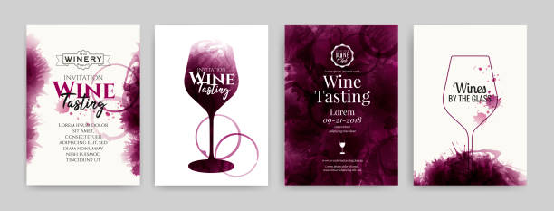 Collection of templates with wine designs. Elegant wine glass illustration. Brochure, poster, invitation card, promotion banner, menu, list, cover. Wine stains backgrounds. Collection of templates with wine designs. Elegant wine glass illustration. Brochure, poster, invitation card, promotion banner, menu, list, cover. Wine stains backgrounds. Vector illustration. wine stock illustrations