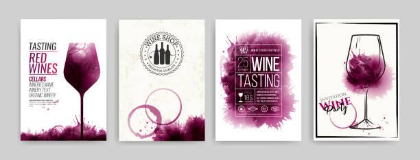 와인 디자인 템플릿의 컬렉션입니다.  와인 잔의 일러스트레이션 및 핸드 드로잉. 브로셔, 포스터, 초대 장, 프로모션 배너, 메뉴, 목록, 커버. 와인 얼룩 배경입니다. - 샘플 텍스트 stock illustrations