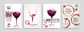 Collection of templates with wine designs. Brochures, posters, invitation cards, promotion banners, menus. Wine stains, drops. illustrations of wine glasses. vector