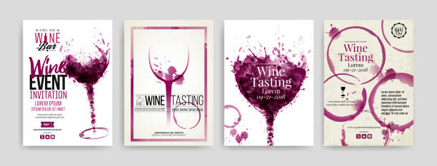 Collection of templates with wine designs. Collection of templates with wine designs. Brochures, posters, invitation cards, promotion banners, menus. Wine stains, drops. illustrations of wine glasses. vector wine stock illustrations