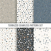 Collection of terrazzo backgrounds. Seamless pattern. Set of marble surfaces. Vector design template.