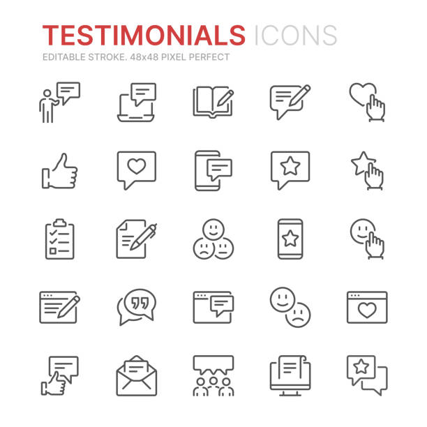 Collection of testimonials related line icons. 48x48 Pixel Perfect. Editable stroke Collection of testimonials related line icons. 48x48 Pixel Perfect. Editable stroke survey icon stock illustrations