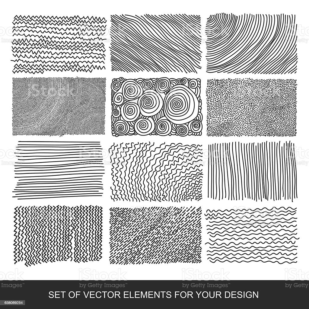 Collection of textures, brushes, graphics, design element. Hand-drawn. Abstract vector art illustration