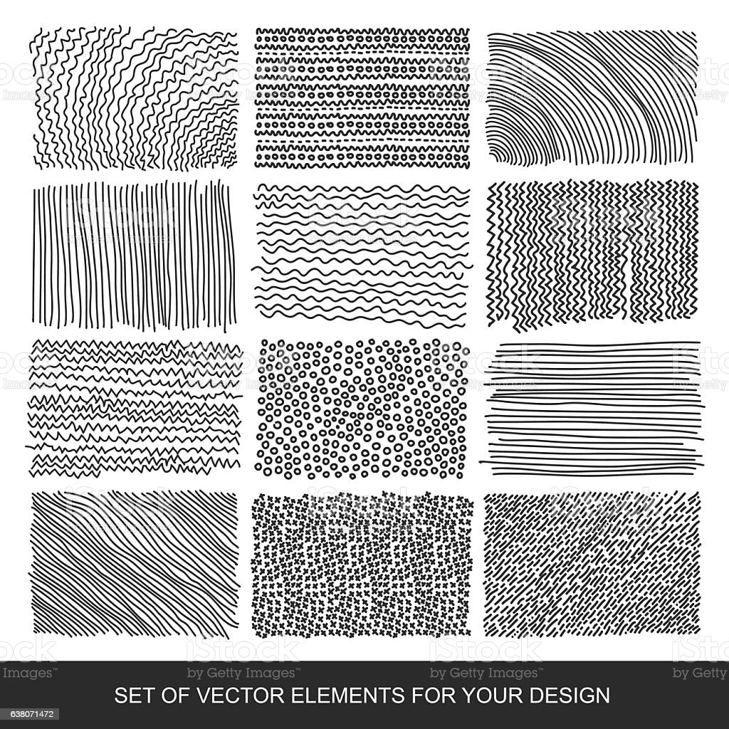 Collection of textures, brushes, graphics, design element. Hand-drawn. Modernistic vector art illustration