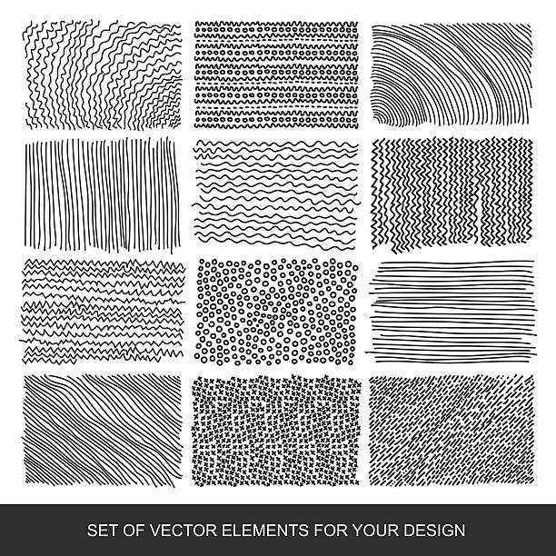 collection of textures, brushes, graphics, design element. hand-drawn. modernistic - squiggle line stock illustrations