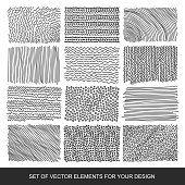 Collection of textures, brushes, graphics, design element. Hand-drawn. Modernistic