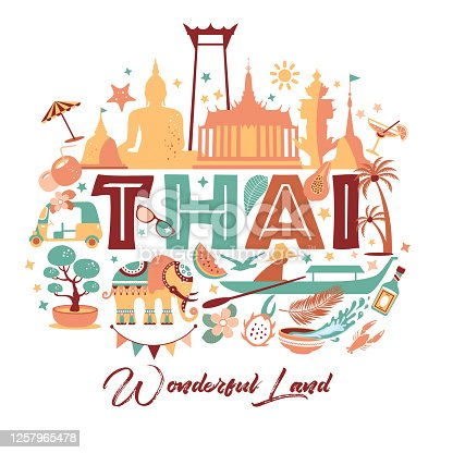 Collection of Thailand symbols. Vector illustartion of icons.