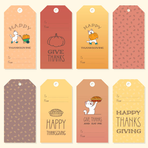 collection of thanksgiving day gift tags - pumpkin pie stock illustrations
