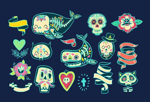 Collection of the Day of the Dead, dia de los muertos in Mexico.