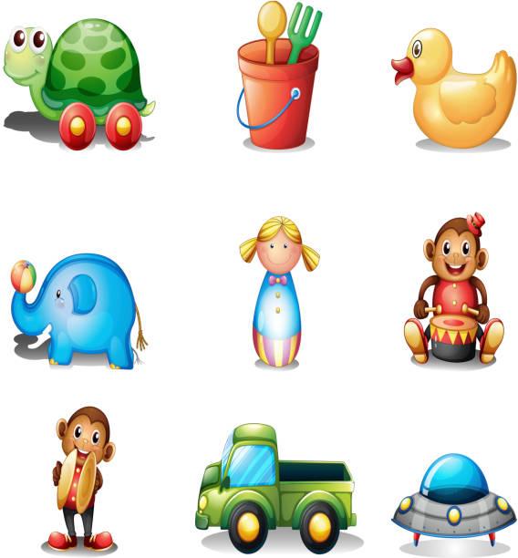 zbiór różnych zabawek - talerz perkusyjny stock illustrations
