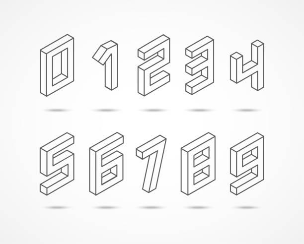 sammlung der isometrischen zahlen 3d illustration - 2 3 jahre stock-grafiken, -clipart, -cartoons und -symbole