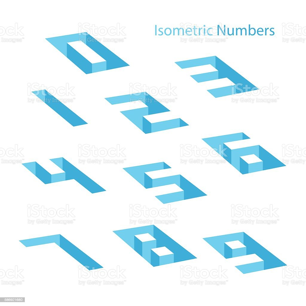 Collection of the isometric numbers. Effect Hole. vector art illustration