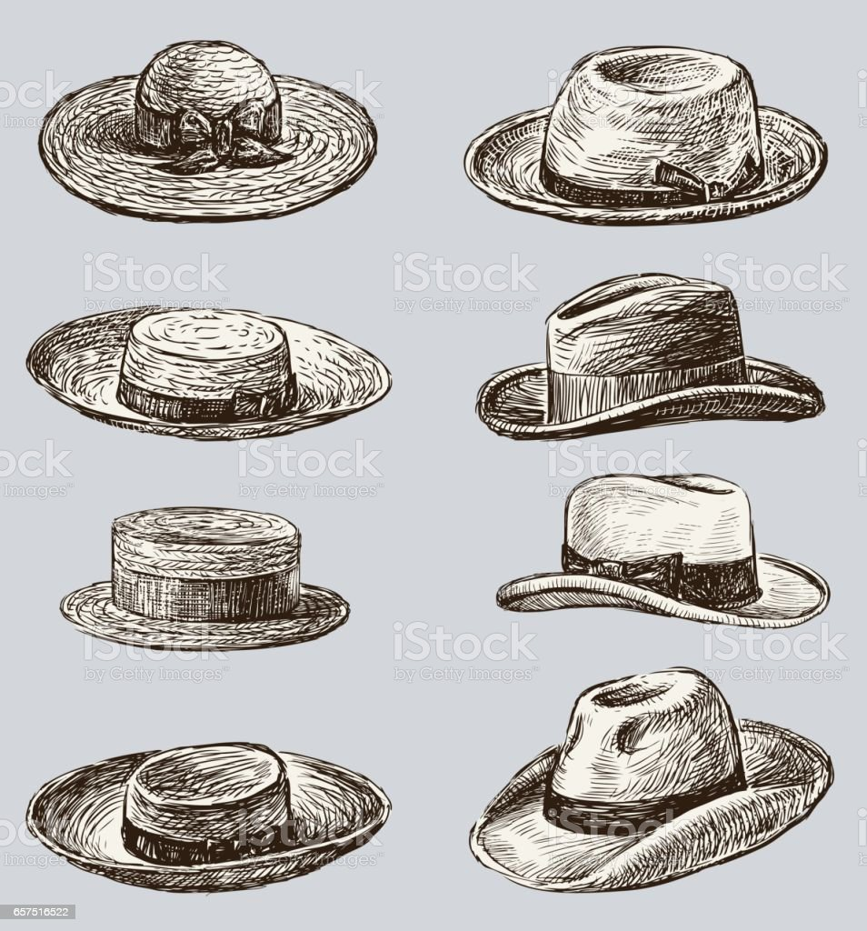 Collection of the male and female hats vector art illustration
