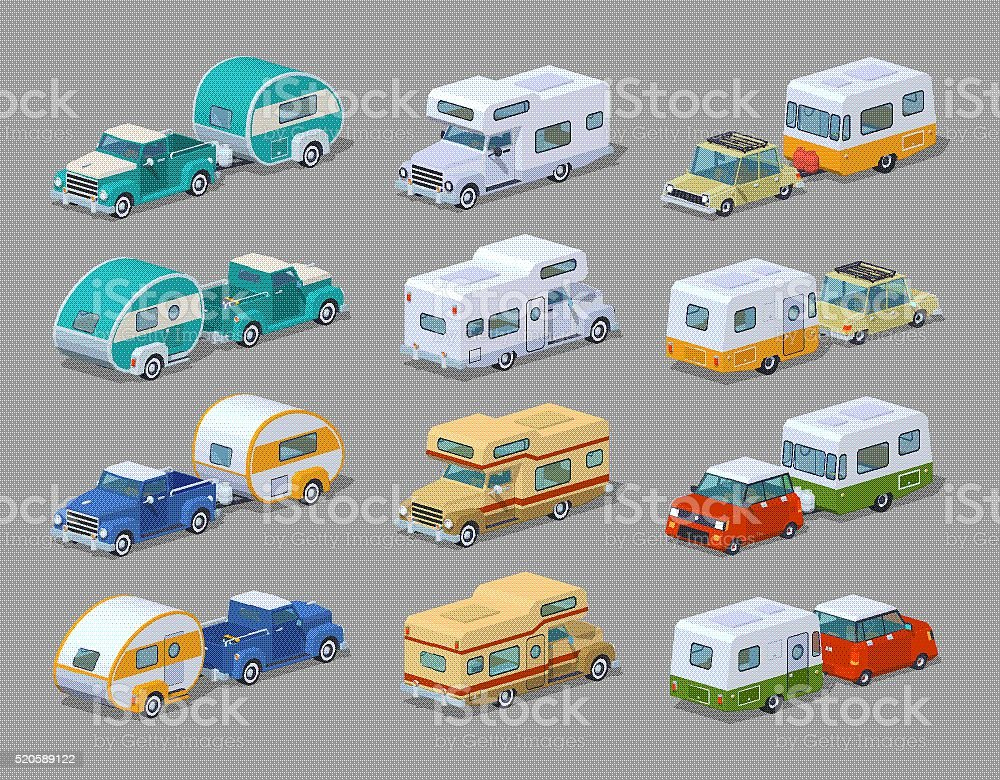 Collection of the motorhomes vector art illustration