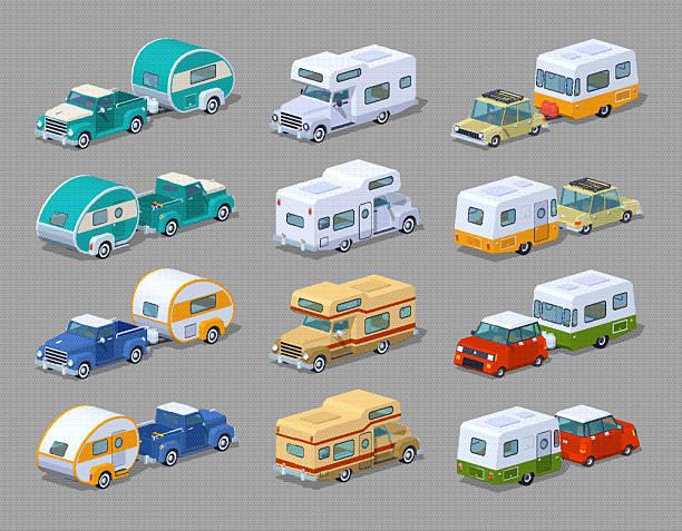 sammlung dem wohnwagen - campinganhänger stock-grafiken, -clipart, -cartoons und -symbole